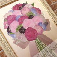 モダンウッド|大人可愛いシャビーシックな花束が素敵な押し花額にリメイク|完成アップ