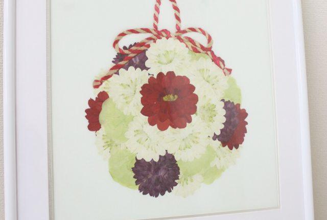 シンプルホワイト正方|ボールブーケを押し花で保存加工するとこうなる|完成図