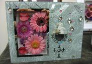 ガラスミラーフレーム|ピンク紫ガーベラ