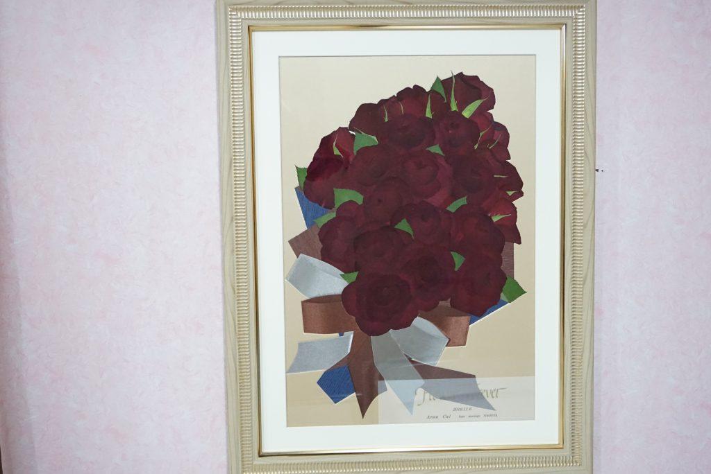 赤いバラ花束押し花