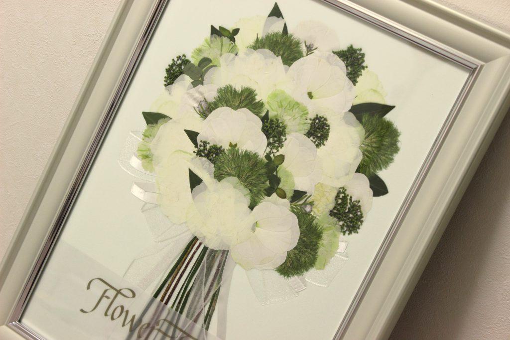 白と緑のブーケ押し花