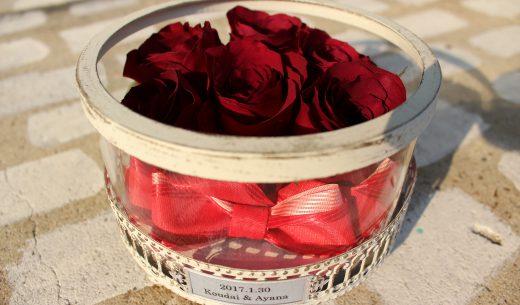 ガラスゴラム赤いバラ