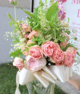 モダンウッド大人可愛いシャビーシックな花束が素敵な押し花額にリメイクAY様持ち込み
