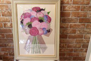 モダンウッド|大人可愛いシャビーシックな花束が素敵な押し花額にリメイク|完成全体図