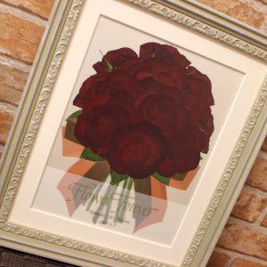 ロマンティックホワイト 108本のプロポーズでもらった花束を押し花で残します 完成