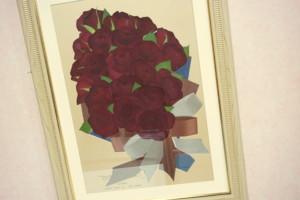 ホワイトフレーム 押し花保存赤バラ花束型
