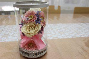 ガラスケーキコラム ピンクの可愛いブーケをレカンフラワーで保存加工 完成全体図