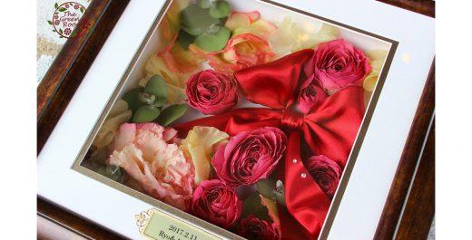 ブラウンフレーム Mサイズ|結婚式当日に感動~二度目のプロポーズの花束☆高級感あるブラウンフレームの中で永遠に|完成アップ