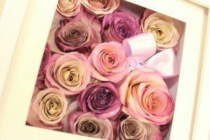 レクタンギュラーキューブホワイトボックス|立体保存結婚式当日にもう一度プロポーズ 幸せな花束保存加工お客様紹介|ボックスМ