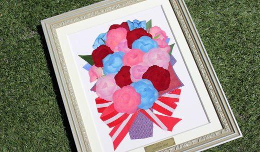 カラフルな99本のバラの花束は、アメリカンカラーでとっても可愛い仕上がりに|完成