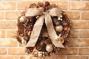 お洒落なクリスマスリース入荷☆35㎝ゴールド&シルバー☆|壁掛けゴールド