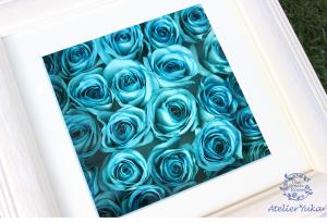自分への誕生日プレゼントには水色のバラの花束を 完成アップ