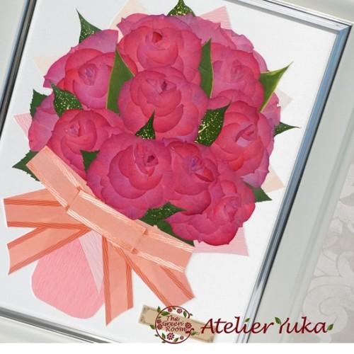 パールホワイト||毎年贈られる結婚記念日の花束を押し花で永遠に|完成アップ