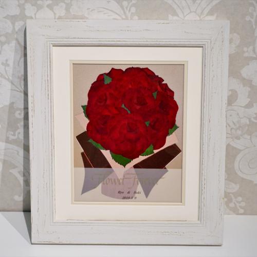 ボタニカルコットン|思い出のバラの花束を押し花に|完成全体