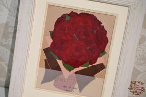 ボタニカルコットン|思い出のバラの花束を押し花に|完成
