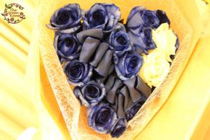 プロポーズのお花をそのまま保存加工|青バラ花束ハート型