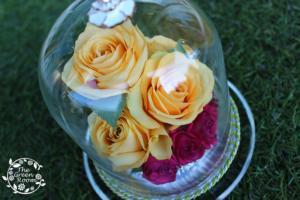 ティアラドーム|誕生日祝いのお花をガラスドームへ|完成アップ